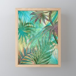 BEAUTIFUL GREEN BLUE TROPICAL DECO POSTER PALM ART PRINT Framed Mini Art Print