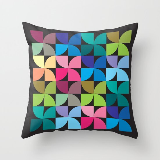 colorful semicircle pattern Throw Pillow