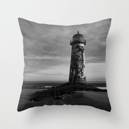 Talacre Lighthouse Black And White Throw Pillow