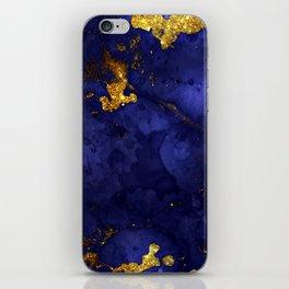 Gold Blue Indigo Malachite Marble iPhone Skin