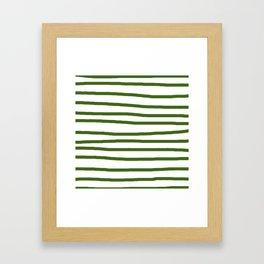 Simply Drawn Stripes in Jungle Green Framed Art Print