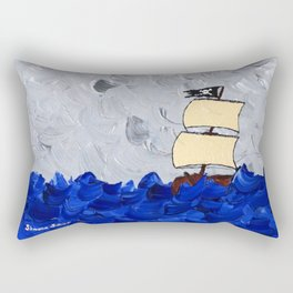 Pirate Ship On Stormy Seas in Acrylic Rectangular Pillow
