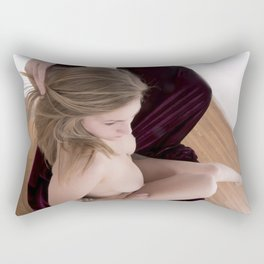2601s-MS  Seated Nude Woman Hair Swept Back Rectangular Pillow
