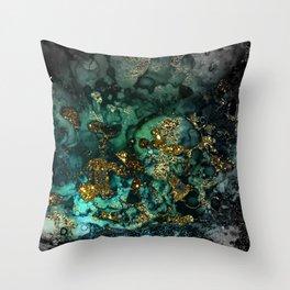 Gold Indigo Malachite Marble Throw Pillow