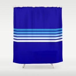 Retro Stripes on Blue Shower Curtain