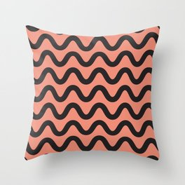 Coral Ripple Throw Pillow