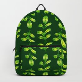 Green Watercolor Botanical Pattern - Plants and Leaves Backpack