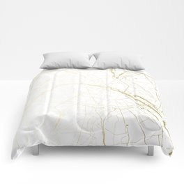 Paris Gold and White Street Map II Comforters