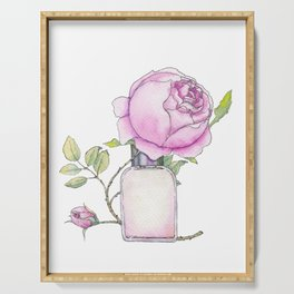 Fragrance bottle with rose flower Serving Tray