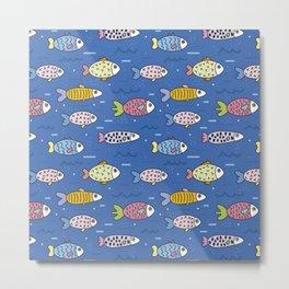 sea fish blue submarine animals Metal Print