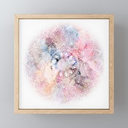 Whimsical white watercolor mandala design Framed Mini Art Print