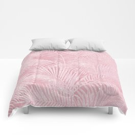Tropical blush pink watercolor glitter floral Comforters