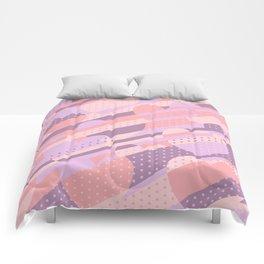 Sweet Heart Pattern (Pastel Coral Pink, Lavender) Comforters