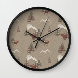 Moose and Mountains Pattern Wall Clock