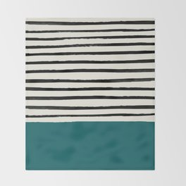 Dark Turquoise & Stripes Throw Blanket