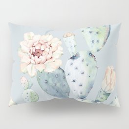 Prettiest Rose Cactus Blue Pillow Sham