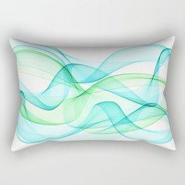 Sea Wave Pattern Abstract Aqua Blue Green Waves Rectangular Pillow