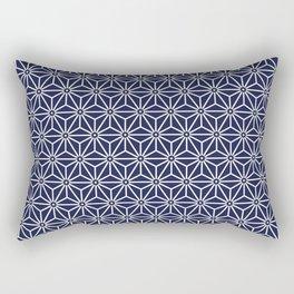 Japanese Yukata Jinbei Asanoha Navy blue Rectangular Pillow