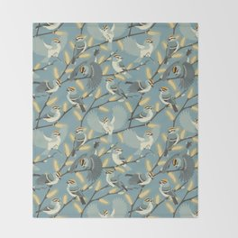 Golden-crowned Kinglets in a Pussy Willow (Dawn) Throw Blanket