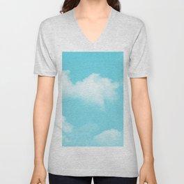 Aqua Blue Clouds Unisex V-Neck