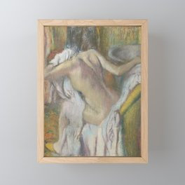 After the Bath, Woman drying herself Framed Mini Art Print