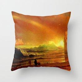 Classical Masterpiece Coastal Sunset by Albert Bierstadt Throw Pillow