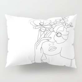 Minimal Line Art Woman with Flowers II Pillow Sham