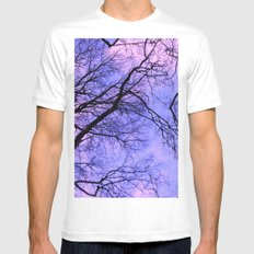 black silhouettes of the trees White Mens Fitted Tee MEDIUM