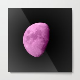 4K Dark Side of the Moon Fuchsia Metal Print