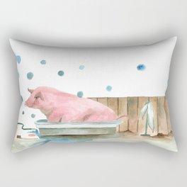 Pig bubble bath time Rectangular Pillow