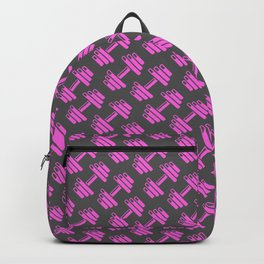 Dumbbellicious PINK GREY Backpack
