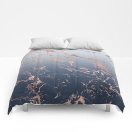 Modern grey navy blue ombre rose gold marble pattern Comforters