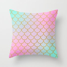 Pastel Mermaid Pattern | Glitter | Sparkle Throw Pillow