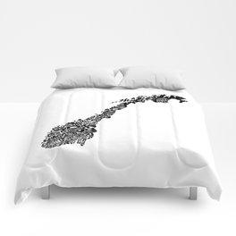 Typographic Norway European map art Comforters