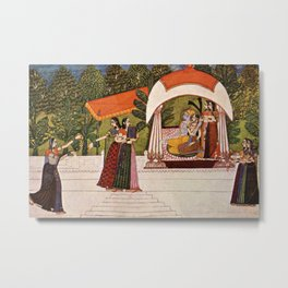 Indian Masterpiece: Krishna and Radha in a pavilion portrait painting Metal Print
