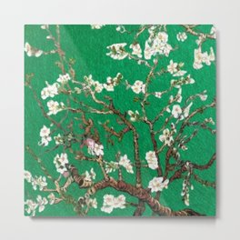 Vincent van Gogh Blossoming Almond Tree (Almond Blossoms) Emerald Sky Metal Print