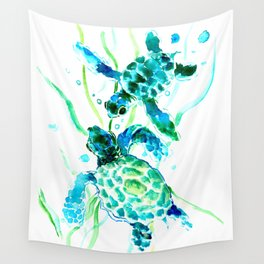 Sea Turtles, Turquoise blue Design Wall Tapestry