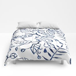 Tropical Plant Boho Chinoiserie Blue and White Comforters