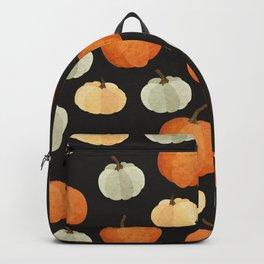 Orange yellow gray black watercolor pumpkin pattern Backpack