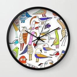Birds. bird, pattern, animals, kids, art, design, illustration, Wall Clock