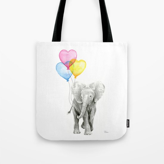 Elephant Watercolor with Balloons Rainbow Hearts Baby Whimsical Animal Nursery Prints Tote Bag