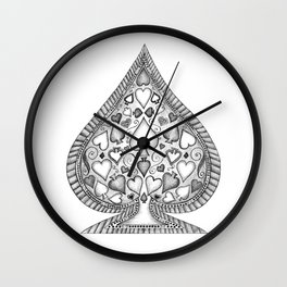 Ace of Spades Black and White Wall Clock