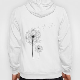 Black And White Dandelion Sketch Hoody