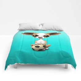 Cute Chihuahua Puppy Dog With Football Soccer Ball Comforters