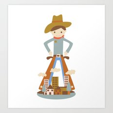 Cowboy in a lonely town Art Print