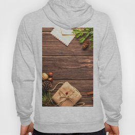 Christmas Holiday Rustic Decor Wooden Planks Hoody