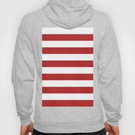 Horizontal Stripes - White and Firebrick Red Hoody