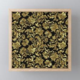 Black & Shiny Gold Vintage Floral Damasks Framed Mini Art Print
