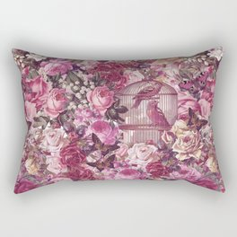 Vintage Bird Cage Flower Pattern Retro Illustration Rectangular Pillow