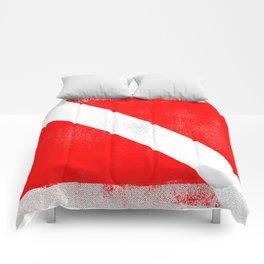 Diver Down Distressed Halftone Denim Flag Comforters